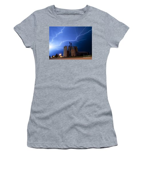 Rural Lightning Storm Women's T-Shirt (Athletic Fit)