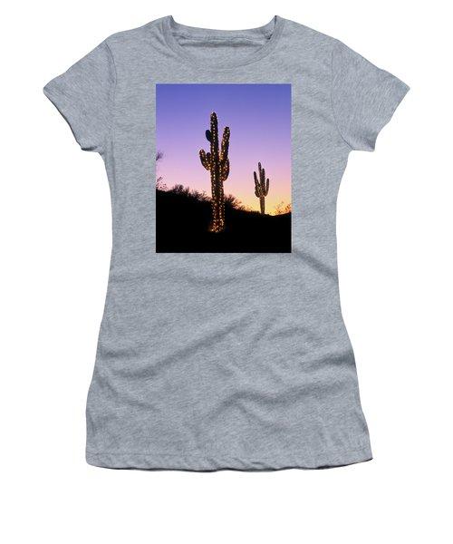 Saguaro Cacti With Christmas Lights Women's T-Shirt