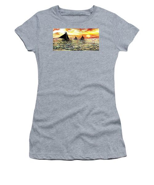 Women's T-Shirt (Junior Cut) featuring the painting Sail Away With Me by Shana Rowe Jackson