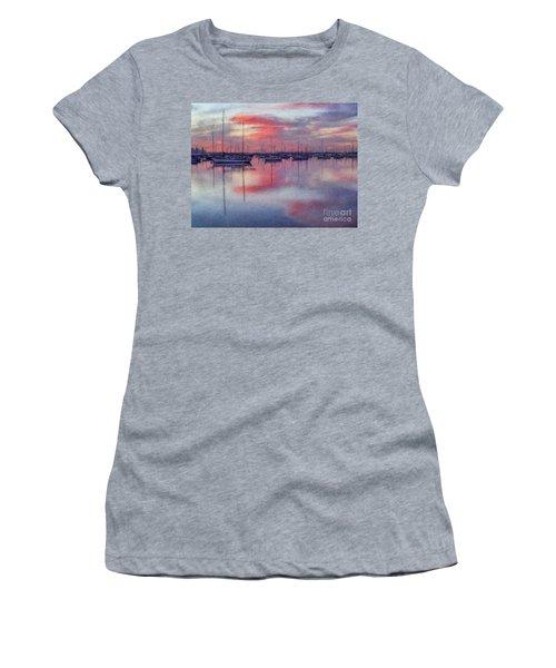 Women's T-Shirt (Junior Cut) featuring the digital art San Diego - Sailboats At Sunrise by Lianne Schneider