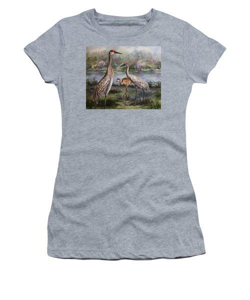 Sandhill Cranes On Alert Women's T-Shirt (Junior Cut) by Roxanne Tobaison