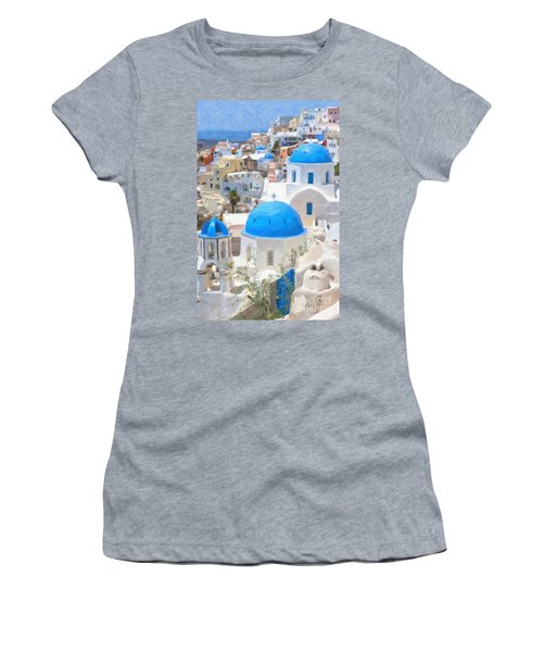 Santorini Oil Painting Women's T-Shirt (Athletic Fit)