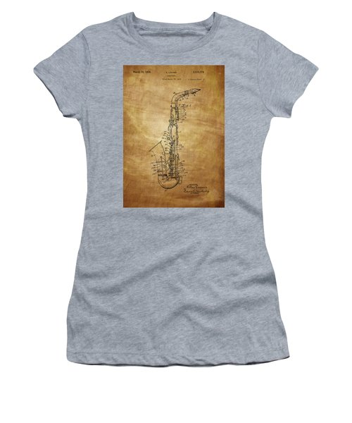 Saxophone Patent Drawing From 1933 Women's T-Shirt