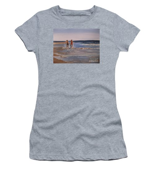 Sea Splashing On The Beach Women's T-Shirt (Athletic Fit)