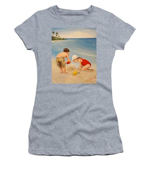 Women's T-Shirt (Junior Cut) featuring the painting Seashell Sand And A Solo Cup by Alan Lakin
