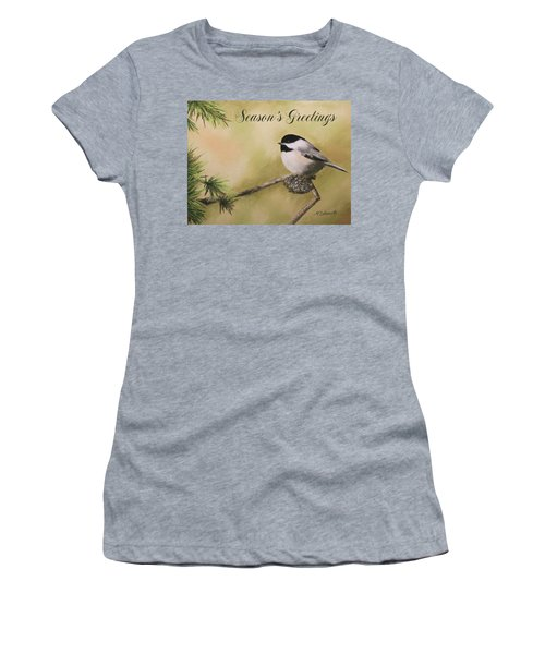 Season's Greetings Chickadee Women's T-Shirt (Athletic Fit)