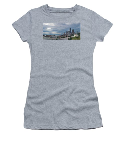 Women's T-Shirt (Junior Cut) featuring the photograph Seattle Downtown Skyline And Freeway Panorama by JPLDesigns