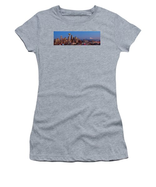 Seattle Winter Evening Panorama Women's T-Shirt (Athletic Fit)