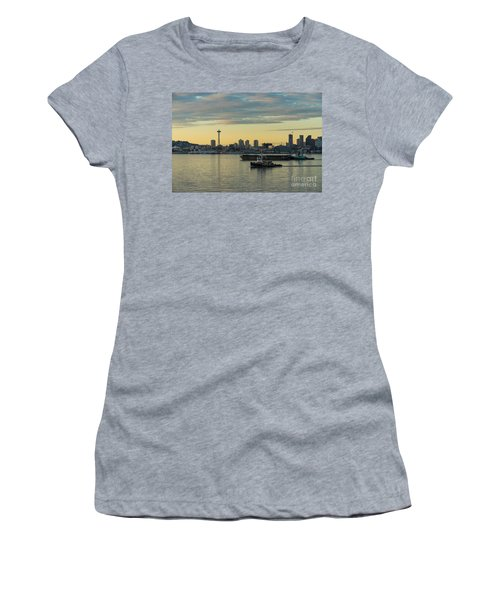 Seattles Working Harbor Women's T-Shirt (Junior Cut) by Mike Reid