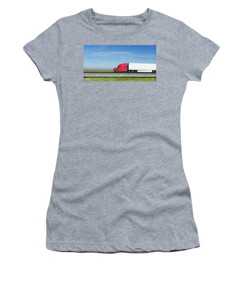 Semi Truck Moving On The Highway Women's T-Shirt