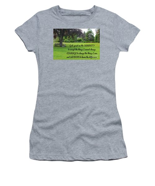 Serenity Prayer And Park Bench Women's T-Shirt (Athletic Fit)