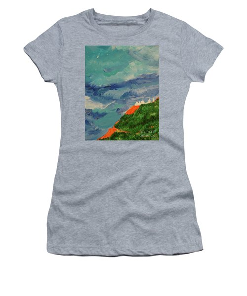 Women's T-Shirt (Junior Cut) featuring the painting Shangri-la by First Star Art
