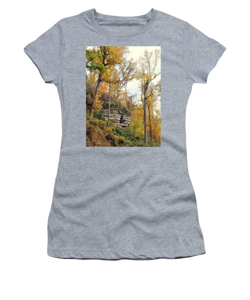 Women's T-Shirt (Junior Cut) featuring the photograph Shawee Bluff In Fall by Marty Koch