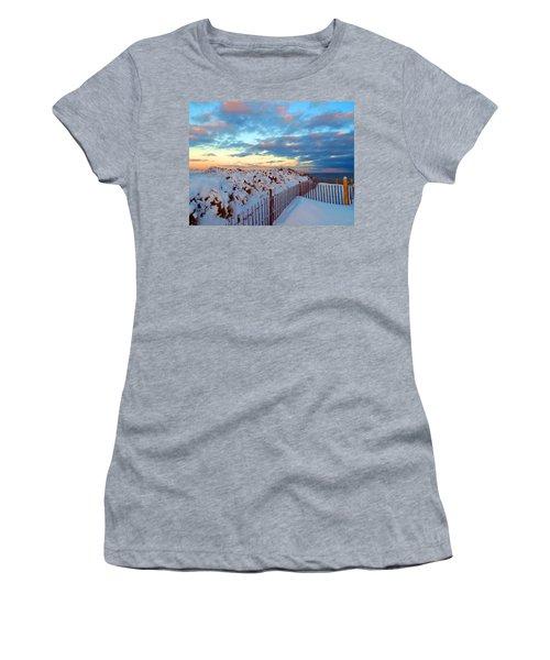 Snow Dunes At Sunrise Women's T-Shirt (Athletic Fit)