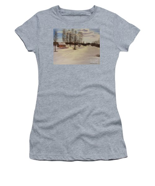 Women's T-Shirt (Junior Cut) featuring the painting Snow In Solbrinken by Martin Howard