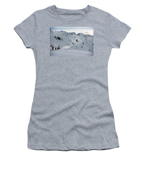 Snowboarder Jumping Off A Kicker Women's T-Shirt