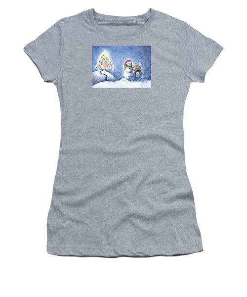 Snowman's X'mas Women's T-Shirt (Athletic Fit)