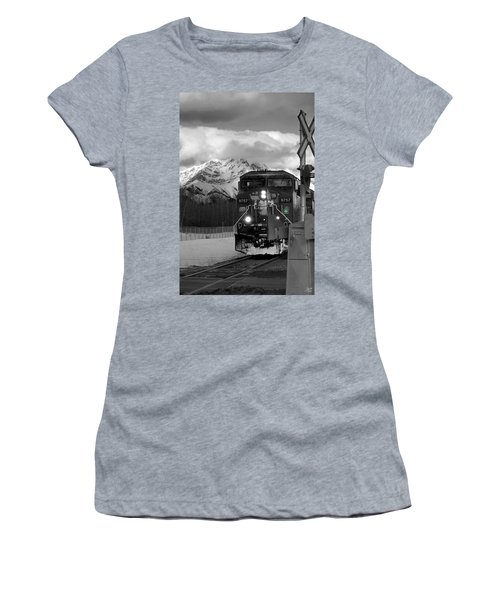 Snowy Engine Through The Rockies Women's T-Shirt (Athletic Fit)