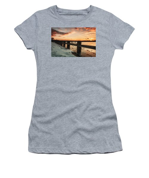 Snowy Sunset In Northport New York Women's T-Shirt