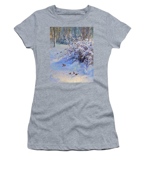 Sparrow On Snow Women's T-Shirt (Athletic Fit)