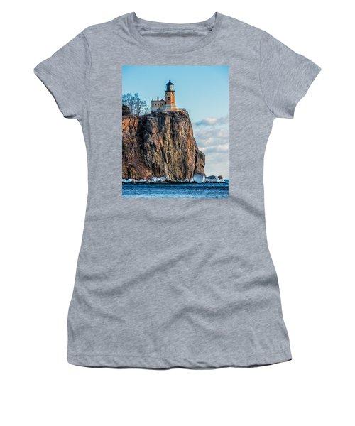 Split Rock Lighthouse In Winter Women's T-Shirt (Athletic Fit)