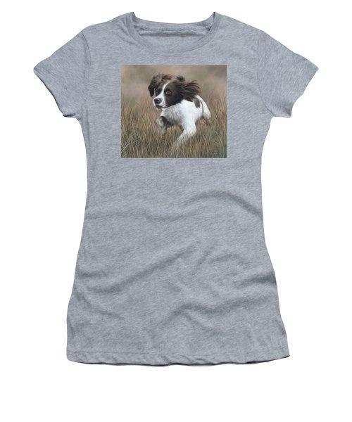 Springer Spaniel Painting Women's T-Shirt (Junior Cut) by Rachel Stribbling
