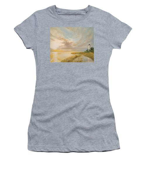 Women's T-Shirt (Junior Cut) featuring the painting St Marks Lighthouse by Alan Lakin