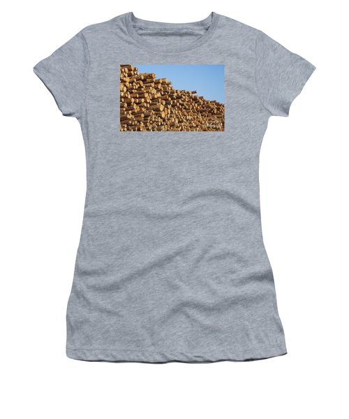 Women's T-Shirt featuring the photograph Stacks Of Logs by Bryan Mullennix