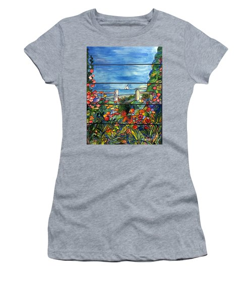 Stained Glass Tiffany Landscape Window With Sailboat Women's T-Shirt (Athletic Fit)