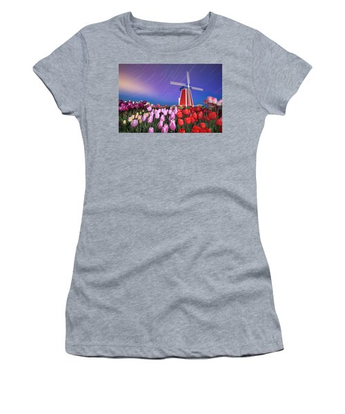 Star Trails Windmill And Tulips Women's T-Shirt