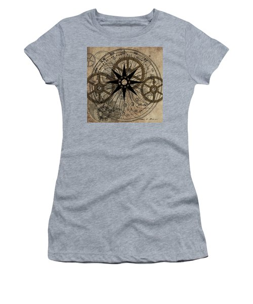 Steampunk Gold Gears II  Women's T-Shirt (Junior Cut) by James Christopher Hill