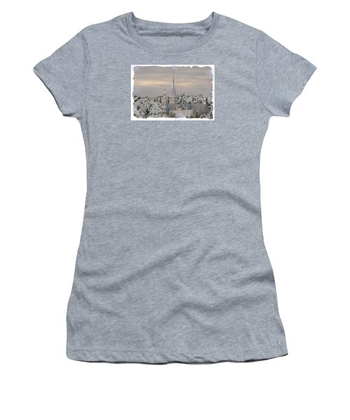 Women's T-Shirt (Junior Cut) featuring the photograph Steeples In The Snow by Nadalyn Larsen