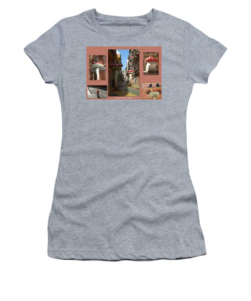 Women's T-Shirt (Junior Cut) featuring the photograph Street Of Giant Mushrooms by Linda Prewer