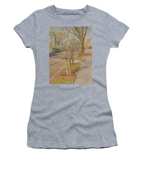Street Trees With Winter Shadows Women's T-Shirt (Athletic Fit)