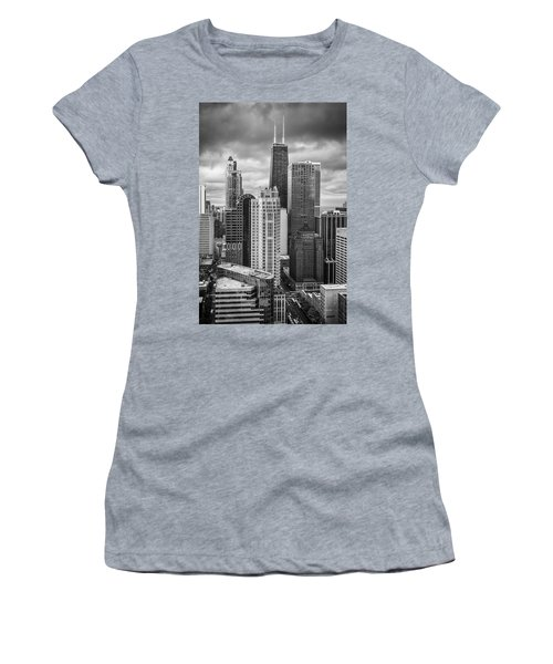 Streeterville From Above Black And White Women's T-Shirt (Athletic Fit)