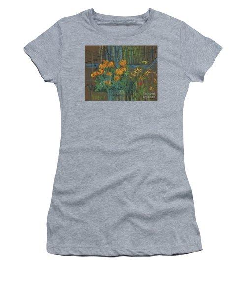 Women's T-Shirt (Junior Cut) featuring the painting Summer Flowers by Donald Maier