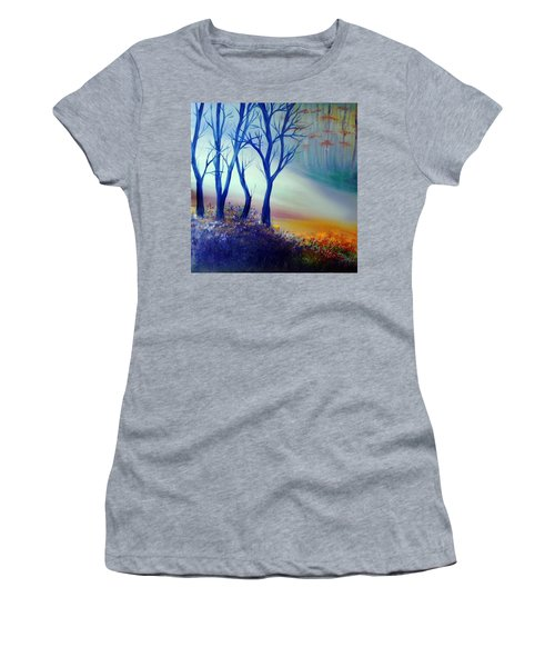 Women's T-Shirt (Junior Cut) featuring the painting Sun Ray In Blue  by Lilia D