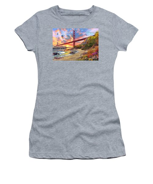 Sunset At Golden Gate Women's T-Shirt (Athletic Fit)
