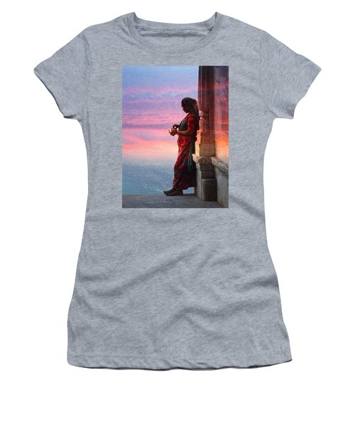 Sunset Lake Colorful Woman Rajasthani Udaipur India Women's T-Shirt (Athletic Fit)