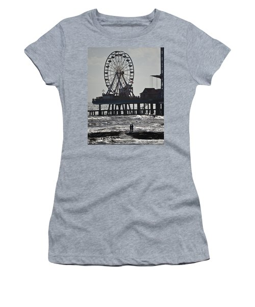 Surfer And Lovers At Pleasure Pier Women's T-Shirt