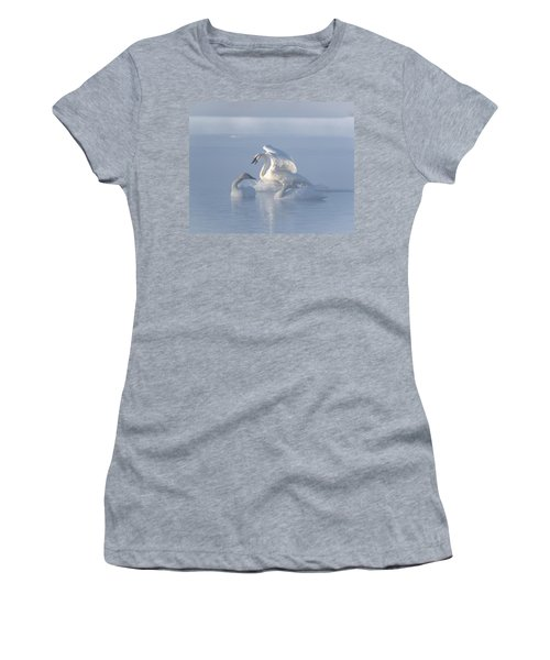 Trumpeter Swans - Three's Company Women's T-Shirt (Junior Cut) by Patti Deters