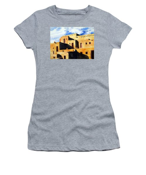 Women's T-Shirt featuring the painting Taos Pueblo by Sam Sidders