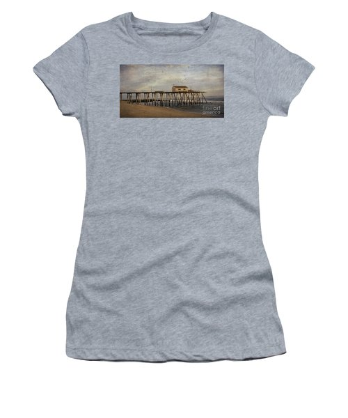 Women's T-Shirt (Junior Cut) featuring the photograph The Belmar Fishing Club Pier by Debra Fedchin