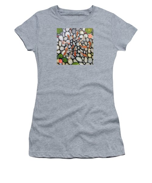 Women's T-Shirt (Junior Cut) featuring the painting The Fish Pond by John Stuart Webbstock