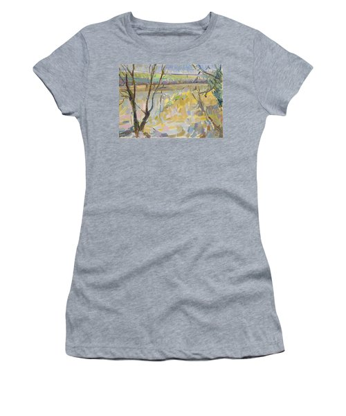 The Flooded Cherwell From Rousham II Oil On Canvas Women's T-Shirt