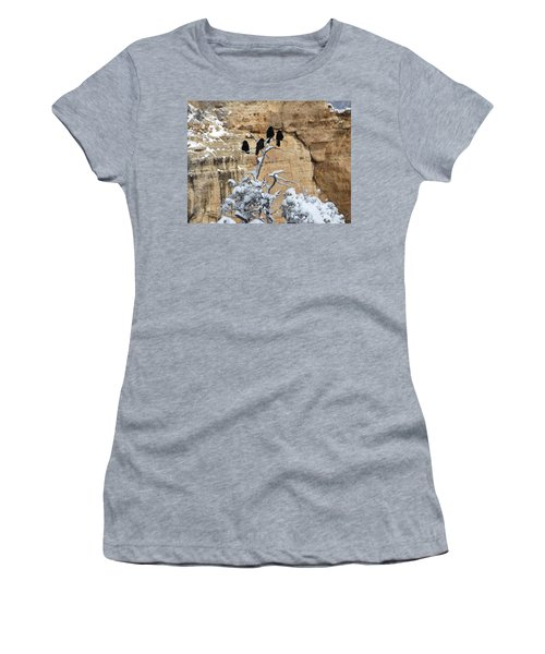 Women's T-Shirt (Junior Cut) featuring the photograph The Four Crows by Laurel Powell