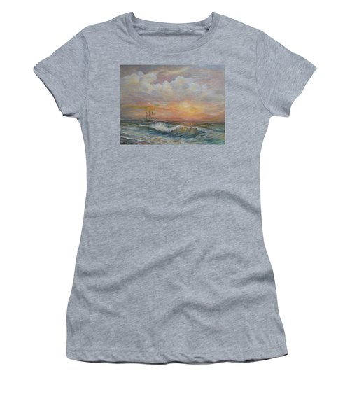 Sunlit  Frigate Women's T-Shirt (Junior Cut) by Luczay