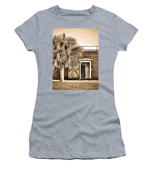 The Old Fort-sepia Women's T-Shirt (Athletic Fit)