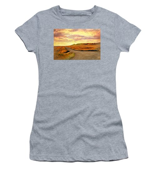 Women's T-Shirt (Junior Cut) featuring the photograph The Road Less Trraveled Sunset by Marty Koch