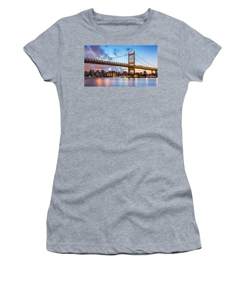 Triboro Bridge At Dusk Women's T-Shirt (Junior Cut) by Mihai Andritoiu